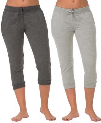 Coco Limon Women's Sweatpants C. - Charcoal & Heather Gray Capri Joggers Set - Women