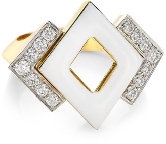 David Webb Motif 18K Yellow Gold, White Enamel & Double Diamond Ring