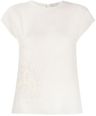Alysi Embroidered Detail Cap Sleeve Blouse