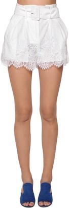 Self-Portrait Belted Lace Mini Shorts