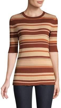 Lafayette 148 New York Silk-Blend Striped Rib-Knit T-Shirt