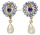Chanel Gold and Blue Jeweled Pearl Drop 94P Clip On Earrings