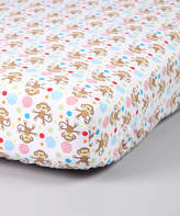 Trend Lab White Monkey Flannel Crib Sheet