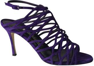 Manolo Blahnik Purple Suede Sandals