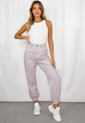 Missguided Cream Co Ord Highwaisted Denim Joggers