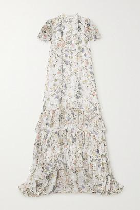 Erdem Aurelio Tiered Ruffled Floral-print Silk-voile Gown - White
