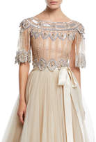 Jenny Packham Scalloped Beaded Illusion Evening Top