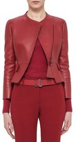 Akris Asymmetric Cropped Leather Jacket, Miracle Berry