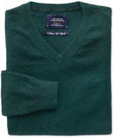 Charles Tyrwhitt Mid Green Cotton Cashmere V-Neck Cotton/cashmere Sweater Size XXXL