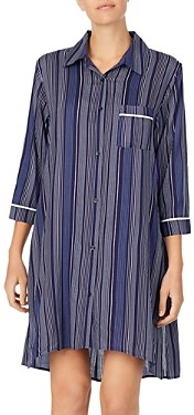 Donna Karan Striped Short Sleepshirt
