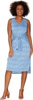 Halston H By H by Petite Knit Pattern Midi Dress with Waist Tie