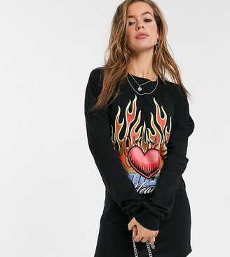 Rokoko oversized long sleeve t-shirt dress with flame graphic-Black