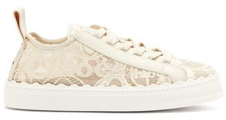 Chloé Lauren Scalloped Lace Trainers - Womens - White