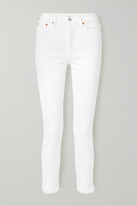 RE/DONE Originals High-rise Ankle Crop Frayed Skinny Jeans - White