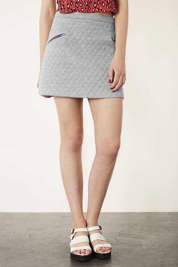 Topshop Grey Marl Quilted Zip Pelmet Skirt