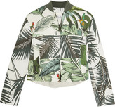 Max Mara Tema Printed Linen And Cotton-blend Bomber Jacket - White