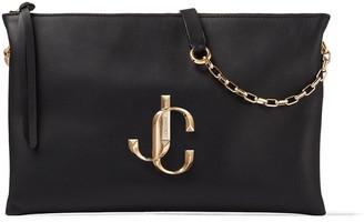 Jimmy Choo VARENNE SHOULDER/S Black Calf Leather Shoulder Bag with JC Logo