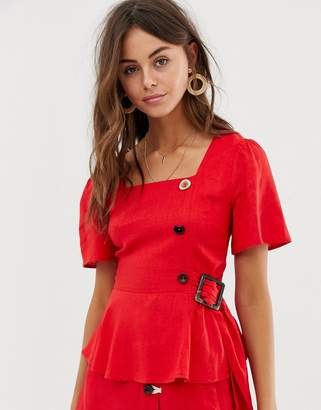 Moon River blouse with button and ring detail-Red