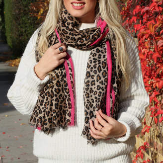 Hurleyburley Personalised Brown And Pink Leopard Print Scarf