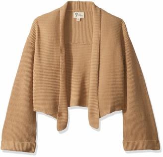 Andrea Jovine Women's Timeless Textured Fringed Back Cardigan Sweater