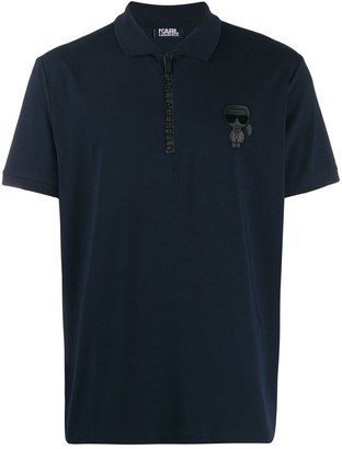 Karl Lagerfeld Paris Half Zip Polo Top