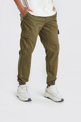 boohoo Mens Green Elastic Waist Slim Fit Cargo Trouser, Green