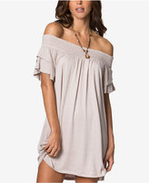 O'Neill Juniors' Off-The-Shoulder Raw-Edge Shift Dress