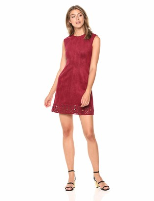 Vince Camuto Women's Suede Shift Dress with Extended Cap Sleeve