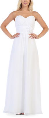 Mayqueen MayQueen Women's Special Occasion Dresses White - White Floral-Accent Chiffon Strapless Gown & Shawl - Women & Plus