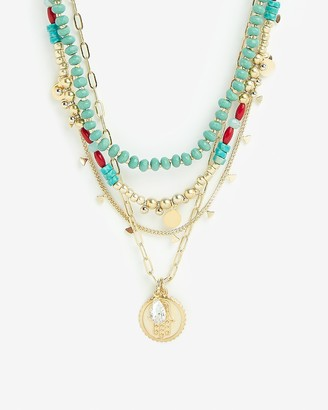 Express Four Row Beaded Coin Stone Necklace