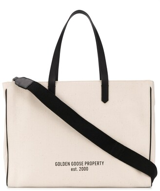 Golden Goose slogan print canvas tote