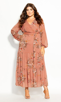 City Chic Floral Tiered Maxi Dress - guava