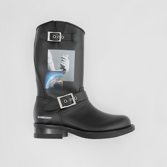 Burberry Montage Print Leather Biker Boots