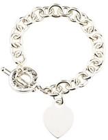 Tiffany & Co. Sterling Silver Blank Heart Charm Toggle Bracelet 7.75