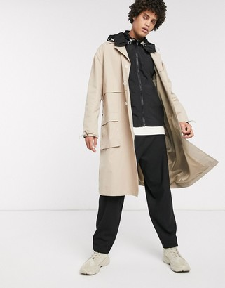 Asos trench coat with detachable nylon vest & hood