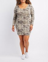 Charlotte Russe Plus Size Camo Caged-Back Bodycon Dress