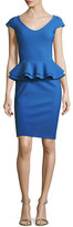 La Petite Robe di Chiara Boni Kiarna Cap-Sleeve Peplum Cocktail Dress, Cobalt