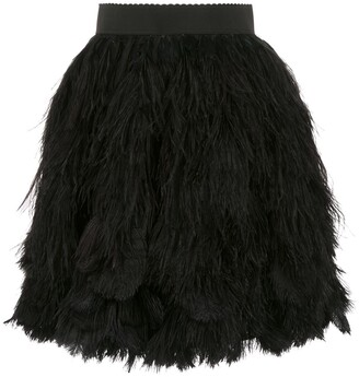 Dolce & Gabbana Feather Applique Mini Skirt