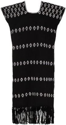 Pippa Holt Embroidered Fringe-Hem Kaftan Dress