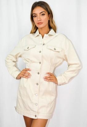 Missguided Cream Cinched Waist Denim Jacket Dress
