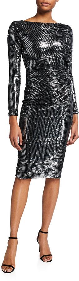Dress the Population Emilia Sequin Stripe Long-Sleeve Bodycon Dress
