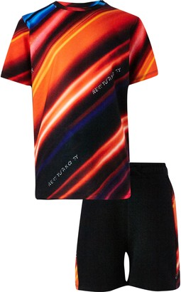 River Island Boy Red strobe print t-shirt short outfit