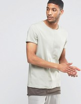 Asos Super Longline T-Shirt With Seam Detail And Boat Neck In Mock Double Layer In Gray