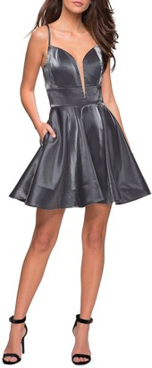 La Femme Satin Fit & Flare Cocktail Dress