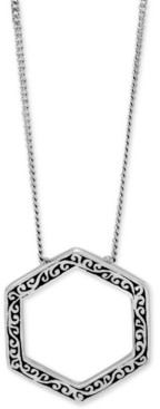 "Lois Hill Filigree Hexagon Pendant Necklace in Sterling Silver, 16"" + 2"" extender"