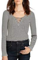 Denim & Supply Ralph Lauren Striped V-neck Lace-up Shirt.