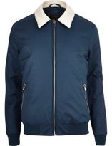 River Island Navy Borg Collar Harrington Jacket