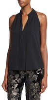 A.L.C. Ivy Sleeveless Tie-Front Top, Black