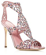 Sergio Rossi Swarovski Crystal Tresor Gladiator High Heel Sandals