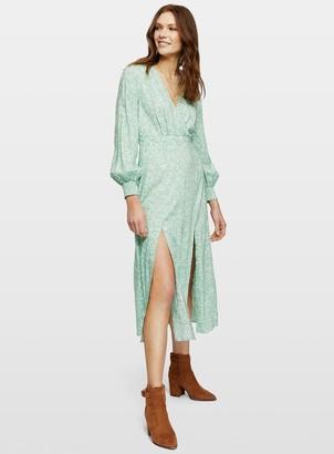 Miss Selfridge Pale Green Ditsy Hanky Hem Midi Dress